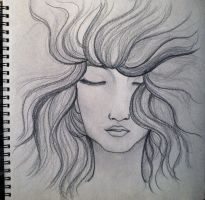 dreaming girl (pencil drawing) by Nichapon