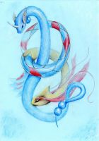 Milotic and Dragonair by DragonaDeAcero