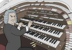 Commission: Bach playing a Wurlitzer organ by RomanJones