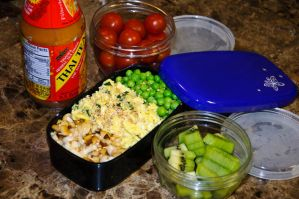 Three Toppings Rice Bento by Demi-Plum