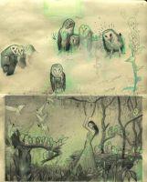 Owl song prelim- sketchbook 1 by rodluff