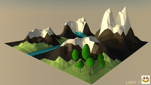 Mountains Low poly - C4D by Lady-Taty