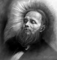 Fyodor Dostoevsky on his deathbed by AnaMarijaPortraits