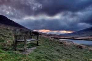 Bench at sunrise by MeelaFin