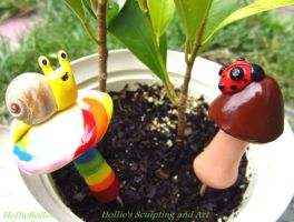 Plant buddies- Snail and Lady bug by HollieBollie