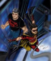 Superboy and Robin by boondock22