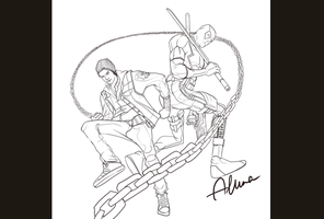 Delsin and Deadpool by SweeetRazzbery