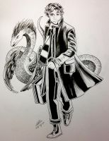 Newt and Occamy - Ink Drawing by artbox99