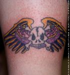 Winged Skull - Leg Tattoo by Kyle-T