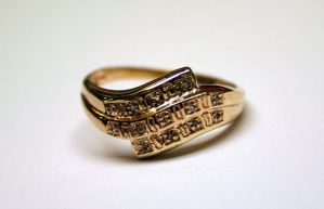 Gold ring with 13 diamonds by LARvonCL