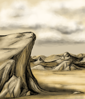 Stock Illustrated Background--1, Rock Formations by SpiderMilkshake