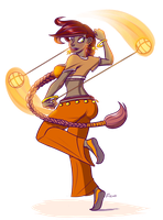Fire Poi Dancer by FicusArt