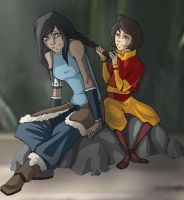 Korra and Jinora by oO-x3-Oo