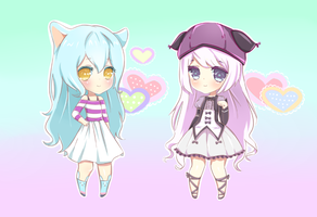 Commission- Chibis for Kailanix Foxie by Xukia