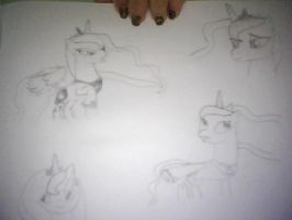 Princess Luna sketches by GalacticRainbow