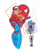 M.J in Spidey's suit Colored by JoeyVazquez