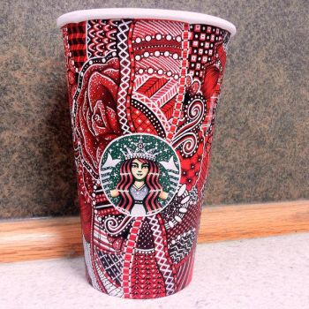 Red Starbucks CupArt by CreativeCarrah