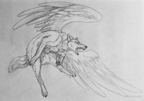 Flying wolf by MiraHinDo-Takomi