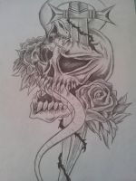 Tribal tattoo rose Skull DRAWING. Rough sketch by CassandraWilson