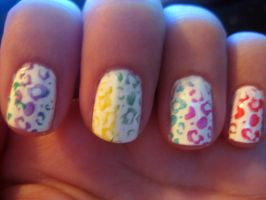 rainbow leopard nails by xstdx