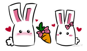 Bunnies on Valentines Day by kyupi