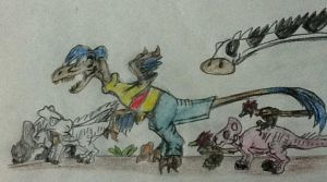 Rolf and his farm dinosaurs by DinoBirdMan