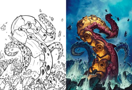 Hearthstone - Tentacle of N'Zoth line art to color by Tonywash