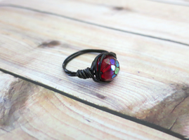 Red Wire Wrapped Ring by lovebirdcreations