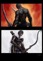 two characters heroic fantasy by Tristiaa