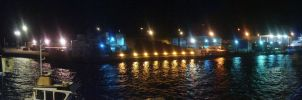 Poole Quay at night Panoramic by Neon2005