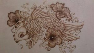 koi fish pyrography finished  by snaplilly