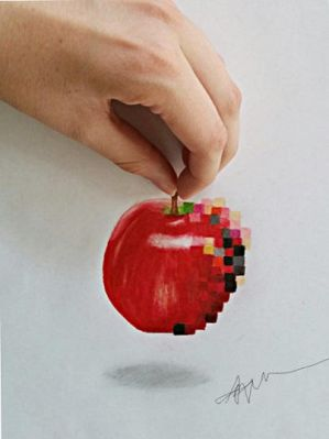 3D Pixelated Apple by Kaitlin73