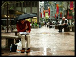 Reading under showers by Titareco