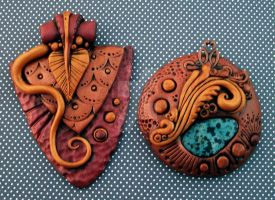 Bronze and Gold Pendants by MandarinMoon