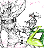 Fierce Deity vs Majora Work in Progress by Aspiring-Artist22