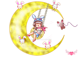 Bunny in the moon by luzhikaru
