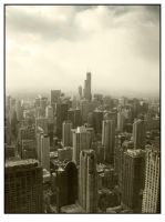 Chicago Skyline Mono by sicklittlemonkey