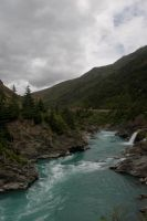 NZ Blue water dark river by Chunga-Stock
