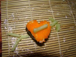 Arrow in Heart Sushi by stephuhnoids