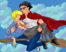 Harry and Draco flying by dysonrules