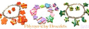 Polymer clay bracelets by colourful-blossom
