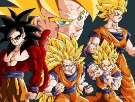 Goku transformations by Sersiso