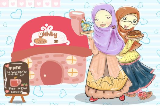 sweet muslimah in cafe by fiyalayanfa2