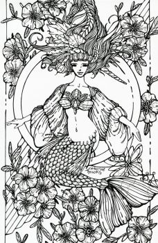 Mermaid - lineart by CathM