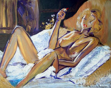 Nude on bed by maxine