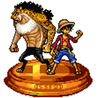 Monkey D. Luffy and Rob Lucci Trophy by KingAsylus91