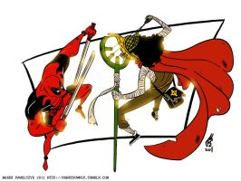 Sogeking versus Deadpool by Aru3000