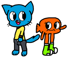 Gumball and Darwin in my style by Bomberdrawer
