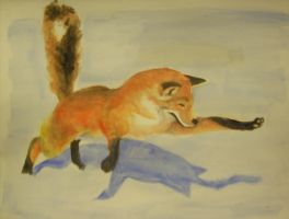 Watercolor Leaping Fox by Lemguin