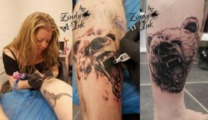 Me tattooing bear by Zindy